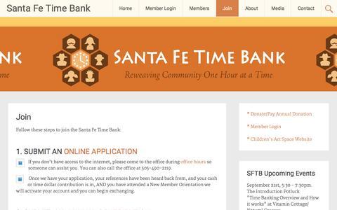 Screenshot of Signup Page santafetimebank.org - Join � Santa Fe Time Bank - captured Dec. 18, 2015
