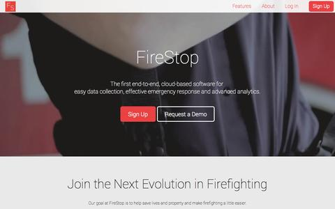 Screenshot of Home Page Contact Page firestopapp.com - FireStop - captured Oct. 1, 2014