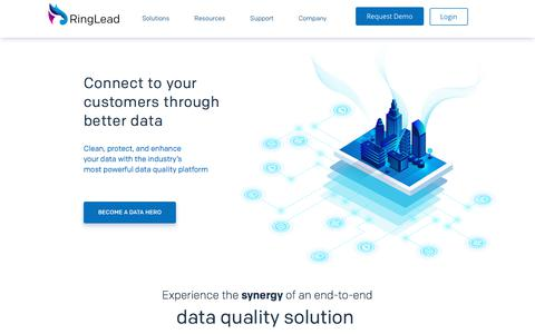 Screenshot of Home Page ringlead.com - RingLead -The #1 Data Quality Platform for Sales and Marketing - captured Aug. 13, 2019