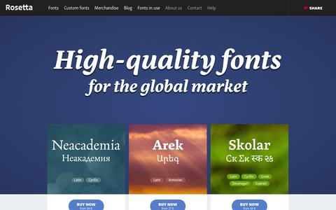 Screenshot of Home Page rosettatype.com - Rosetta - captured Sept. 23, 2014