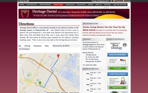 Screenshot of Maps & Directions Page heritagedental.info - Directions   Heritage Dental - captured Sept. 29, 2014