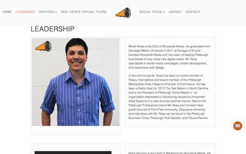 Screenshot of Team Page shoutsidemedia.com - Shoutside Media Leadership » Shoutside Media - captured Oct. 26, 2014
