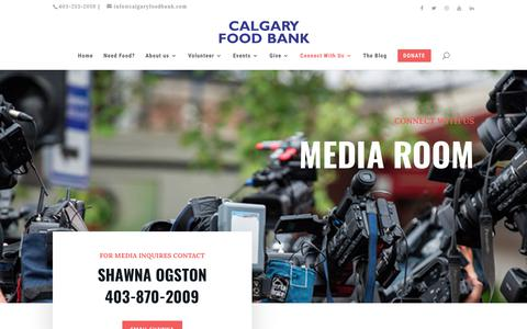 Screenshot of Press Page calgaryfoodbank.com - Media Room | Calgary Food Bank - captured Nov. 4, 2018