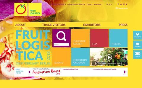 Screenshot of Home Page fruitlogistica.com - FRUIT LOGISTICA - Homepage - captured Feb. 12, 2018