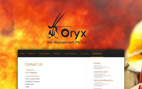 Screenshot of Contact Page oryxrisk.co.za - Contact Us - Oryx Risk Management - captured Oct. 9, 2014