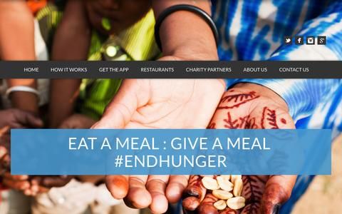 Screenshot of Home Page mealmatch.com - MealMatch | #endhunger - captured Jan. 21, 2015