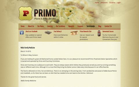 Screenshot of Testimonials Page getprimopizza.com - Testimonials - captured Nov. 12, 2016