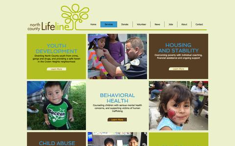 Screenshot of Services Page nclifeline.org - North County Lifeline - Services - captured Nov. 29, 2016