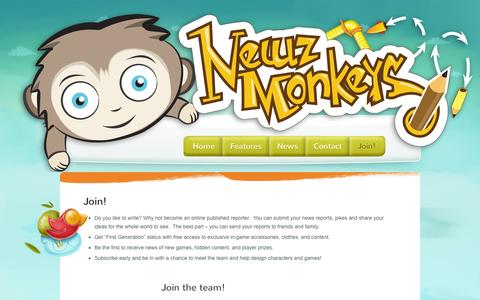 Screenshot of Signup Page newzmonkeys.com - Join! | Get the news and be an Ace Reporter! - captured Oct. 6, 2014