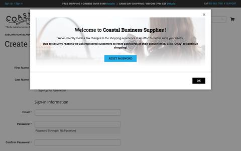 Screenshot of Signup Page coastalbusiness.com - Create New Customer Account | Coastal Business Supplies - captured June 27, 2017
