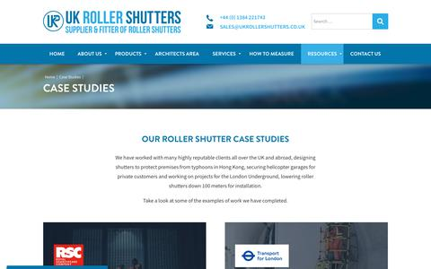 Screenshot of Case Studies Page ukrollershutters.co.uk - Case Studies | UK Roller Shutters - captured March 6, 2018