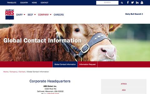 Screenshot of Contact Page absglobal.com - Contact Us   ABS Global, Inc. - captured May 28, 2017