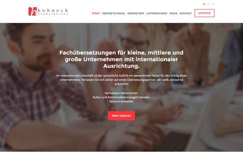 Screenshot of Home Page hohneck.com - Fachübersetzungen für internationale Erfolge – hohneck Translations - captured Feb. 1, 2016