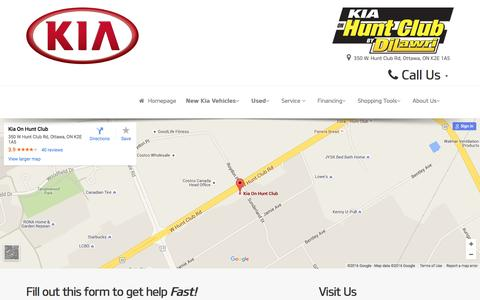 Screenshot of Contact Page Maps & Directions Page kiaonhuntclub.com - Ottawa Kia On Hunt Club Contact Us Page - Your local Kia dealership in Ottawa, K2E 1A5, for New and Used Cars, Sales, Parts and Service - captured April 8, 2016