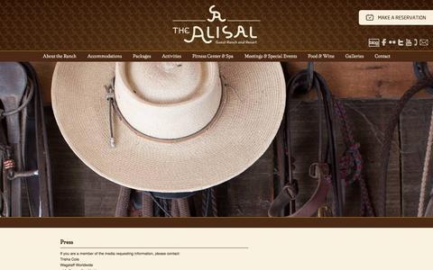 Screenshot of Press Page alisal.com - Media and Press Inquiries - Alisal Guest Ranch & Resort - captured Aug. 28, 2016
