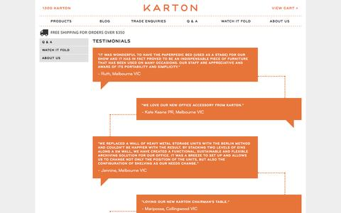Screenshot of Testimonials Page kartongroup.com.au - TESTIMONIALS - captured Sept. 30, 2014