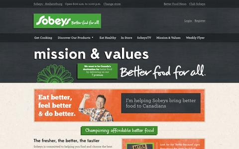 Screenshot of Contact Page sobeys.com - Sobeys | Mission & Values - captured Sept. 25, 2014