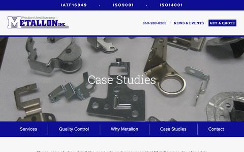 Screenshot of Case Studies Page metallon.com - Case Studies Detailing Metallon's High Volume Stamping Advancements - captured Oct. 18, 2018