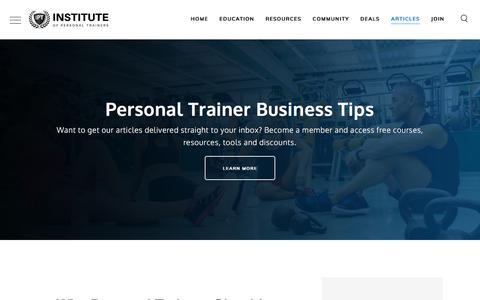 Screenshot of Blog instituteofpersonaltrainers.com - Institute of Personal Trainers - Personal Trainer Marketin Advice - captured July 16, 2019