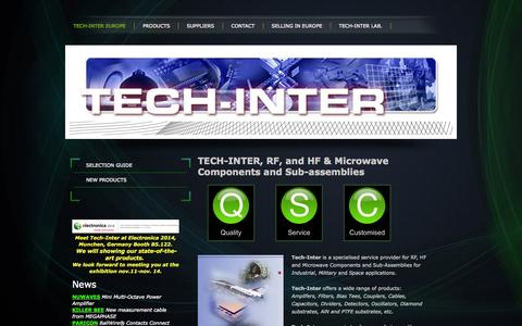 Screenshot of Home Page tech-inter.eu - TECH-INTER, RF, and HF & Microwave Components - captured Oct. 9, 2014