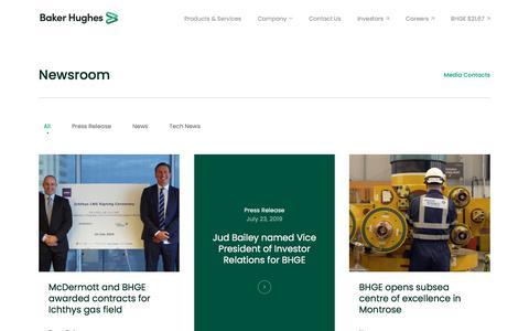 Screenshot of Press Page bakerhughes.com - Company News   Baker Hughes - captured Oct. 8, 2019