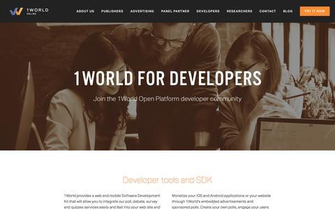 Screenshot of Developers Page 1worldonline.com - Developers — 1World Online - captured July 3, 2016