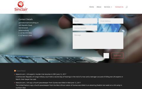 Screenshot of Contact Page sinclairconsulting.co - Contact Us | Sinclair Consulting - captured June 13, 2017