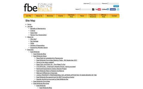 Screenshot of Site Map Page fbeonline.co.uk - Site Map - Forum for the Built Environment (fbe) - captured Oct. 6, 2014