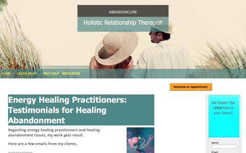 Screenshot of Testimonials Page abandoncure.com - Best Energy Healing Practitioners for Healing Abandonment Issues - captured July 24, 2016