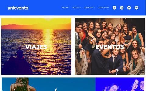 Screenshot of Home Page unievento.com - Fiestas Universitarias en Madrid y Viajes - Unievento - captured Oct. 20, 2018