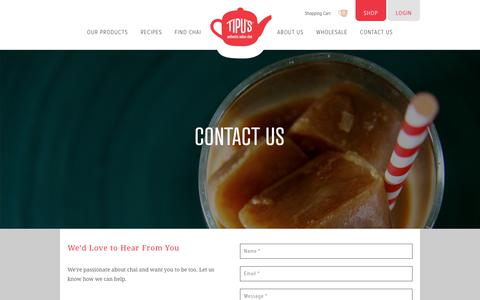 Screenshot of Contact Page tipuschai.com - Contact Us | Tipu's Authentic Indian Chai - captured June 19, 2017