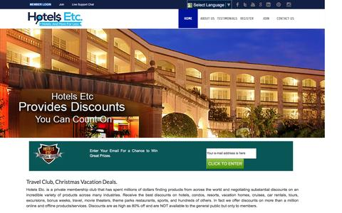 Screenshot of Home Page hotelsetc.com - Best Hotel Deals Online | Last minutes vacations Deals | www.hotelsetc.com - captured Dec. 13, 2015