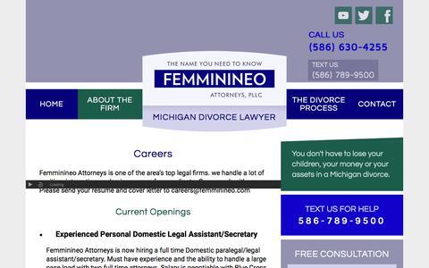 Screenshot of Jobs Page michigandivorcehelp.com - Careers - Michigan Divorce Attorney - captured Sept. 20, 2018