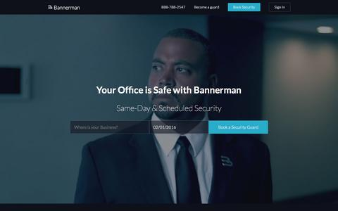 Screenshot of Home Page getbannerman.com - Security Guard Services - Bannerman - captured Feb. 1, 2016