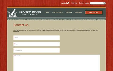 Screenshot of Contact Page Locations Page stoneyriverliving.com - Stoney River Assisted Living - captured Feb. 24, 2016