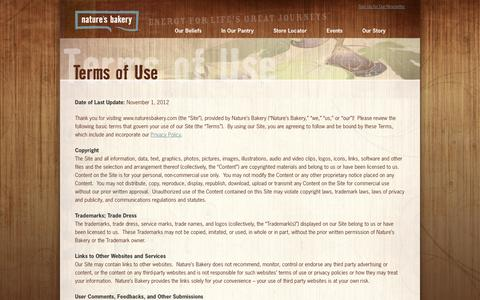 Screenshot of Terms Page naturesbakery.com - Terms Of Use | Nature's Bakery - captured Sept. 24, 2014