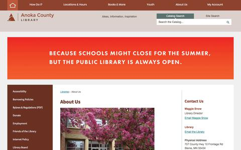 Screenshot of About Page anokacounty.us - About Us | Anoka County, MN - Official Website - captured July 3, 2018