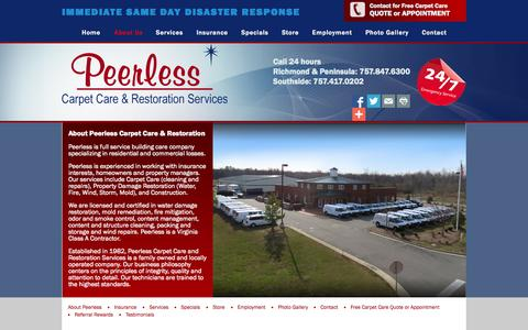Screenshot of About Page peerlessva.com - About Peerless-Carpet Care and Restoration Services - captured Nov. 1, 2014