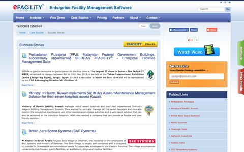 Screenshot of Case Studies Page efacility.in - eFACiLiTY - Enterprise Facilities Management System - captured Jan. 28, 2017