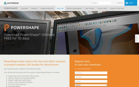 Screenshot of Trial Page autodesk.com - Download PowerShape | Free Trial | Autodesk - captured May 15, 2017