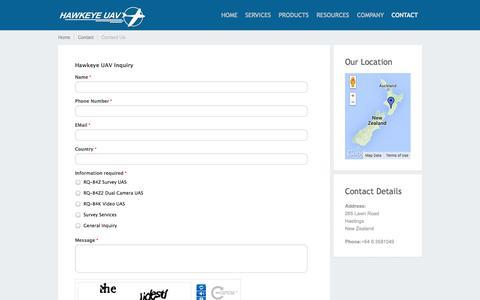 Screenshot of Contact Page hawkeyeuav.com - Contact Us - HAWKEYE UAV - captured Oct. 2, 2014
