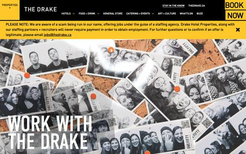Screenshot of Jobs Page thedrake.ca - Careers | The Drake - captured Sept. 20, 2018
