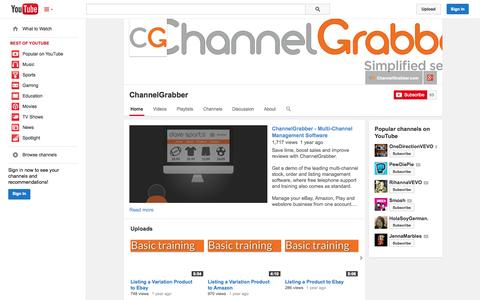 Screenshot of YouTube Page youtube.com - ChannelGrabber  - YouTube - captured Oct. 22, 2014