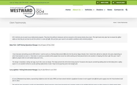 Screenshot of Testimonials Page westwardindustries.com - Client Testimonials – Westward Industries - captured Dec. 20, 2018