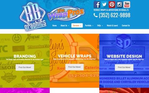 Screenshot of Services Page bbgraphics.com - Services | BB Graphics & The Wrap Pros - captured July 31, 2018