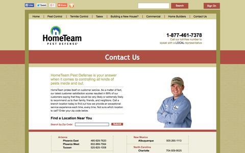 Screenshot of Contact Page pestdefense.com - Contact HomeTeam Pest Defense - captured Sept. 19, 2014