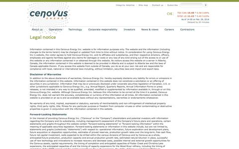 Screenshot of Terms Page cenovus.com - Read Cenovus's legal disclaimer regarding content on the web site - captured Feb. 29, 2016