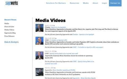 Screenshot of Press Page sageworks.com - Private Company Videos - captured Oct. 30, 2018