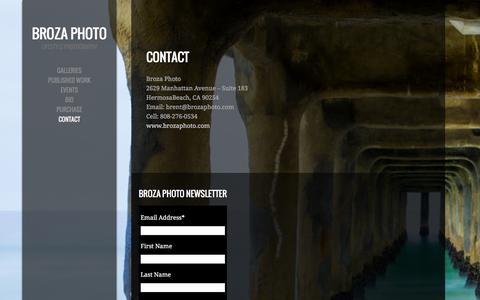 Screenshot of Contact Page brozaphoto.com - Contact - captured Jan. 7, 2016