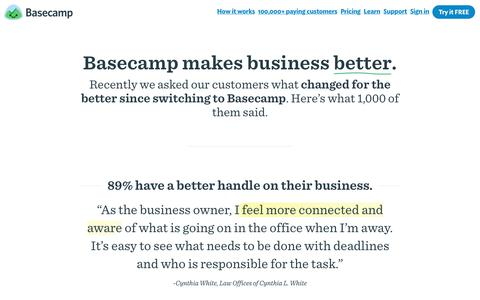 Our customers on how Basecamp makes businesses better